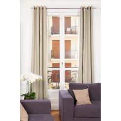 Beige Soundproof Curtain Linda Linen Natural MC721 Moondream Premium