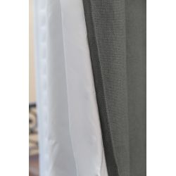 Grey Soundproof Curtain Linda Linen Smoky MC713 Moondream Premium