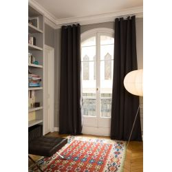 Deep Brown Thermal Curtain Linen Effect Country Baby MC9017