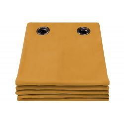 100% Total Blackout Velvet Curtain Venise Ochre Yellow MC215