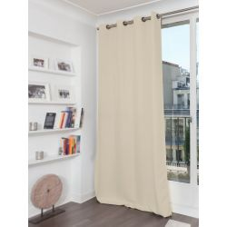 Eggshell Beige Cotton pique effect Blackout Curtain MC634