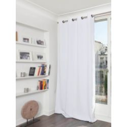 White Cotton pique effect Blackout Curtain MC720