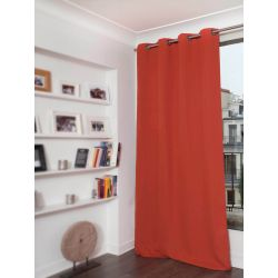 Brick Orange Cotton pique effect Blackout Curtain MC374