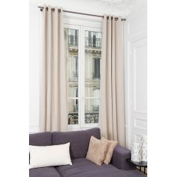 Beige 100% Total Blackout Curtain Washed Linen MC721 Moondream Premium